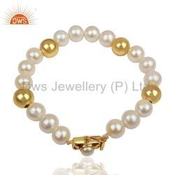 Natural Pearl Beaded Gemstone 925 Silver Bracelet Jewelry