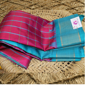 61554eefeb880 Blue And Pink Khushi Saree Pink Saree Check Blue Border Gadwal Pattu Saree