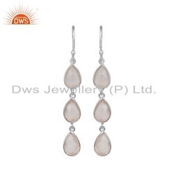 Rose Quartz Gemstone Fine Sterling Silver Dangle Earrings
