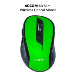 Adcom 6D Slim Wireless Optical Super Mouse (Green) For Desktop