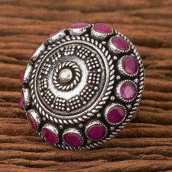 Brass Cubic Zircon Indo Western Oxidized Plated Classic Ring 101185