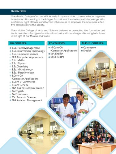 M Sc Mathematics Course in Theni by Mary Matha College Of
