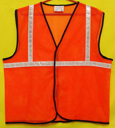 Reflective Vizwear Vests / Jackets 1 Orange Front Opening In Mesh Fabric (v-4)
