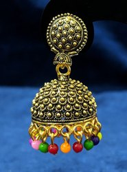 Black Oxidized Metal Golden Jhumka
