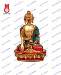 Lord Buddha Sitting Sakyamuni W/ Stone Work Statues