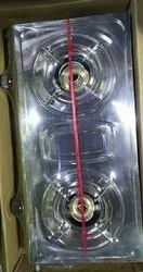 Stainless Steel 2 Gas Stove, For Kitchen, Size: 26 Inch