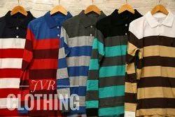 Mens Cotton Striped Polo T Shirt, Size: S, M, L, XL and XXL