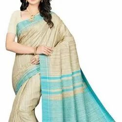 Tussar Party Wear Tasar Ghicha Silk Saree, 6.3 m (With Blouse Piece)