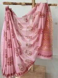 Hand Block Print Chanderi Silk Saree