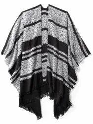 Woolen Black Ladies Poncho