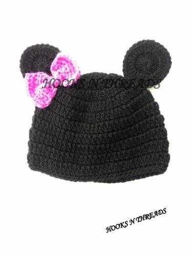 Hooks N Threads Handmade Crochet Minnie Mouse Baby Hat