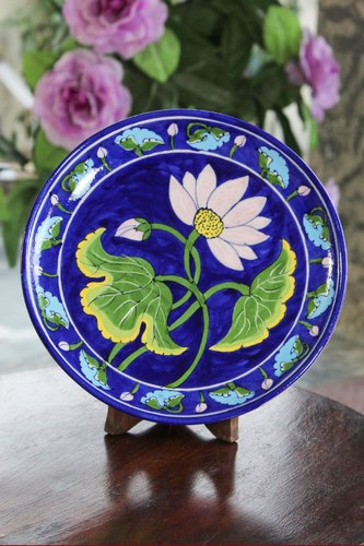 Blue Pottery Plate, for Interior Decor