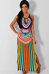 Polyester and spandex Casual Slit Dress