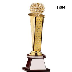 Golden And Brown Metal And Wood 1894 Crystal Classic Trophy With Wooden Stand, For Appreciation