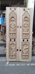 Teakwood Hand Carved Pooja Room Door