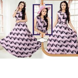 Party Wear Ladies Cotton Printed Maxi Dress, Size: M-XXL, Machine and Hand Wash