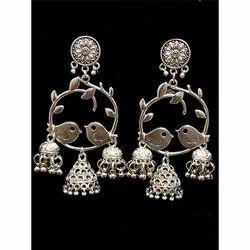 Oxidized Bird Design Earrings