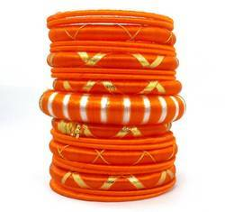 Orange silk thread bangles set.