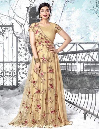 4986bccf78 Embroidered Beige New Tantalizing Cream Net Anarkali Style Salwar Suits