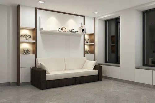 Terrific Oak Wood White Vertical Wall Bed With Sofa Without Box Creativecarmelina Interior Chair Design Creativecarmelinacom