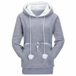 100% Cotton Fleece Full Sleeve Women Hoodies, Size: S to 2XL