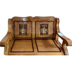 Brown Two Seater Teak Wood Sofa for Home