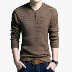 Cotton Full Sleeves Mens Knitted T Shirt, Size: M to XL