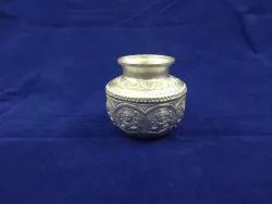 Embossed By Hand Round Silver Plated Kalash, Size: 4