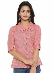 Yash Gallery Women's Cotton Slub Printed Shirt