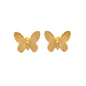 Beautiful 925 Sterling Silver Butterfly Charm Micron Gold Plated Earring