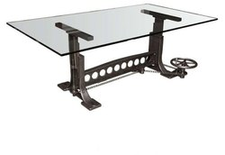Adjustable Glass Top Industrial Table DIF-1423