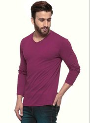 V Neck Full Sleeves Plain Cotton T Shirt
