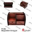Brown Wooden Expandable Pen Stand For Office