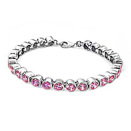Art Palace Amazing Pink Cubic Zirconia 925 Silver Bracelet