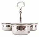Stainless Steel Hammered Pickle Set With 3 Bowls For Hotel/restaurant