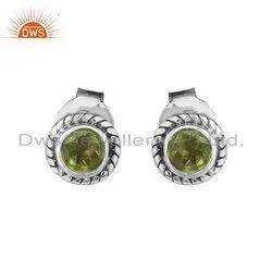 Peridot Gemstone Oxidized Silver Antique Stud Earrings