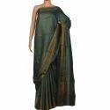 Tussar Muga Silk Dark Green Saree, Length: 6.3 m