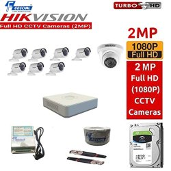 Feecom Hikvision 2-Mp Full Hd Dvr 8-Ch Combo With 1-Pc Dome Camera 2-Mp & 7-Pc Bullet Camera 2-Mp Wi
