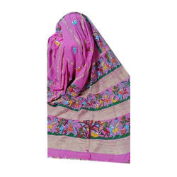 Craft Village Casual Wear Ladies Pink Casual Patachitra Saree, 6.5 m
