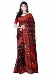 RLB Fashion 5.5m Handloom Dhakai Jamdani Saree (Magenta), Without Blouse Piece