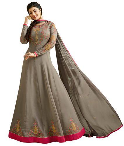 cf29451a22 Georgette Anarkali Style Grey Semi-Stitched Salwar Kameez Suits, Rs ...
