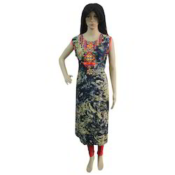 Ladies Cotton Sleeveless Printed Kurti