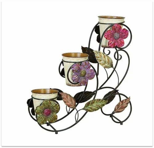220 & Iron 3-pots Stand Flower Pots Wall \u0026 Garden Planters ...