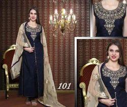 Silk Embroidered Designer Black Front Cut Ladies Suit