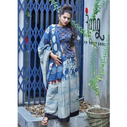 Block Print casual Wear Cotton printed saree, With Blouse Piece, 5.5 m (separate blouse piece)