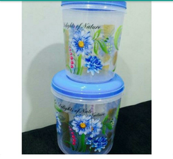 Plastic Household Flower Printed Container
