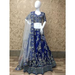 Semi-Stitched Chanderi Partywear Embroidered Lehenga Choli, Packaging Type: Packet