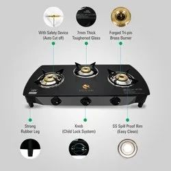 Sohum Lpg Three Burner Gas Stove with Safety Device, Model Number: Sohum 2/3/4b Safety, for Kitchen