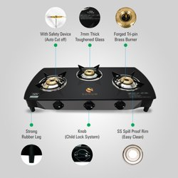 Toughened Glass Brass Three Burner Gas Stove with Safety Device, Model Number: SOHUM 2/3/4B Safety, For Kitchen