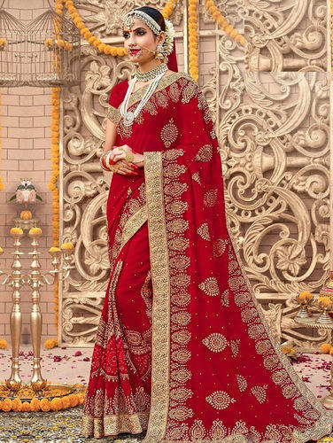de7c85da02 Georgette Red Embroidered Saree With Blouse, Length: 5.5 M, Rs 800 ...